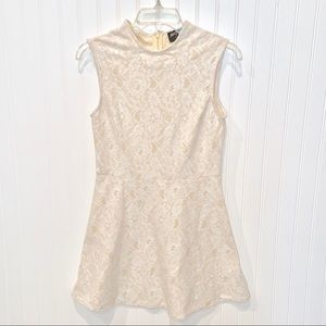 Nasty Gal Cream Lace Fit & Flare Skater Dress sz S